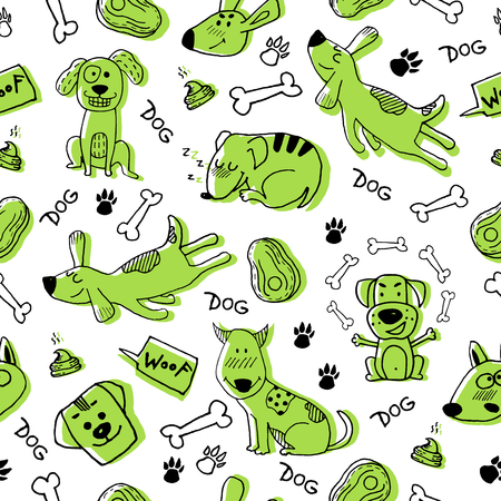 Hand doodle with funny green dogs, paw prints and bones. Vector seamless pattern wallpaper, background. Cute surface design for fabric, textile design, wrapping paper.