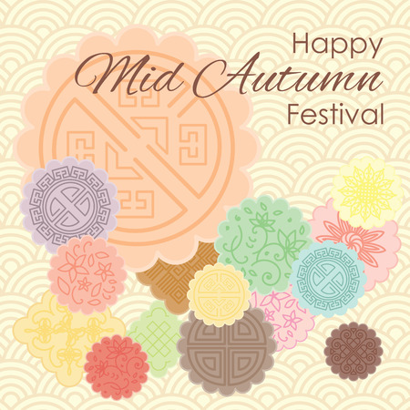 Illustration pour Vector illustration of greeting card for Mid Autumn Festival with traditional mooncakes and pastel ornamental background. - image libre de droit