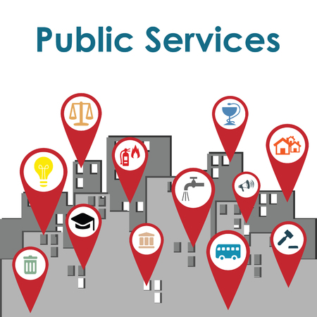 Illustration pour vector illustration of public services map markers in the city as guidance concept - image libre de droit