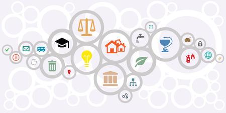Ilustración de vector illustration of public service icons for managing and city administration concepts in circles network shape design - Imagen libre de derechos