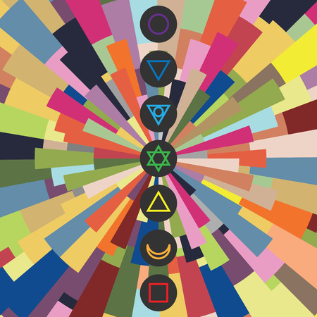 vector illustration of seven chakras symbols with colorful stylized beams shine for body and spiritual energy training designs