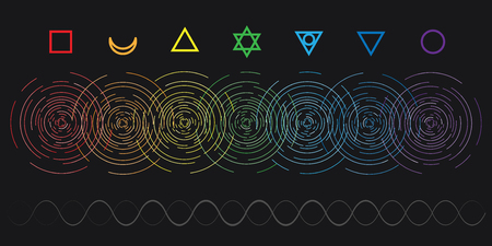 vector horizontal abstract illustration of seven chakras colors with flat line stylized circular shine for body and spiritual energy training designs
