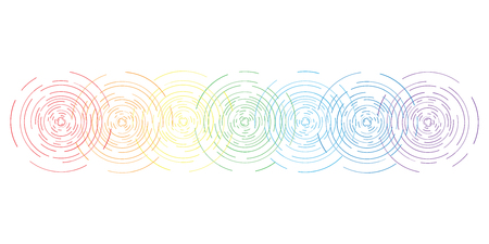 vector horizontal abstract illustration of seven chakras symbols and colors with flat line stylized circular shine for body and spiritual energy training designs
