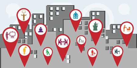 vector illustration of public service workers icons for managing and city administration concepts