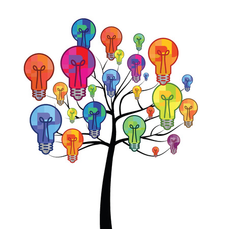 vector illustration of bulb on tree branches for surprising and new ideas creation