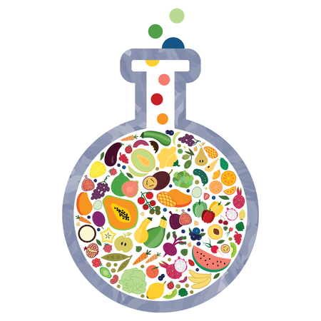 Illustration pour vector illustration of glass flask with fruits and vegetables for healthy nutrition innovation visuals - image libre de droit