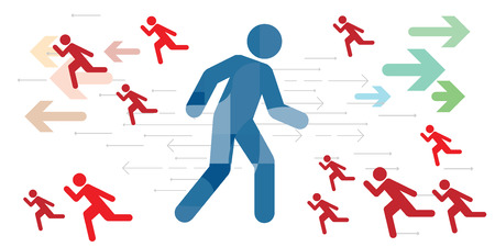 vector illustration of walking man and running people for direction decision and leader position concepts