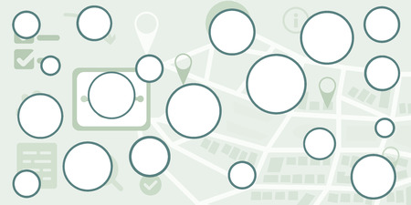 vector illustration of round empty frames on city map diagram or chart template for urban navigation visualization