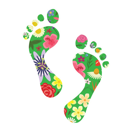 Illustration pour vector illustration of footprints with plants and flowers for nature appreciation and sustainable urban management concept - image libre de droit