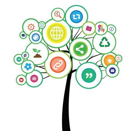 Illustration pour vector illustration of tree with social networks and internet icons for media ecology concept - image libre de droit