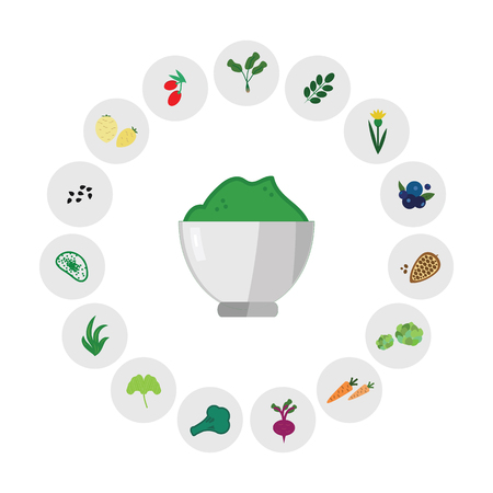 Illustration pour vector horizontal illustration of green powdered superfood blend with ingredients symbols for healthy nutrition supplies concept - image libre de droit
