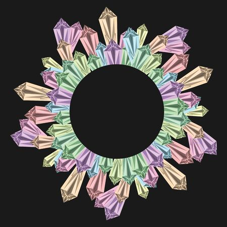vector illustration of colorful shiny gems in circle shape with a space for text in the center and crystals for jewelry shop or minerals store concepts