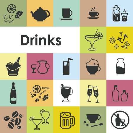 vector illustration of drinks icons set with more than twenty beverage symbols like beer tea coffee wine sangria eggnog champagne