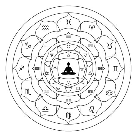vector illustration of lotus flower with alchemy zodiac and planets symbols and meditating person in center for focusing and spiritual healing concepts in white and black colors