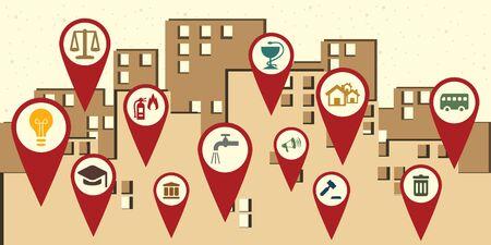 Illustration pour vector illustration of public service loations symbols around city retry style poster - image libre de droit