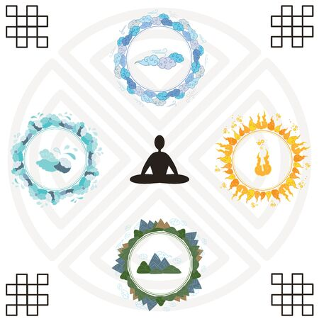 vector illustration of meditating person in center and nature elements around for focusing and spiritual healing concepts