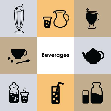 vector illustration for icons set beverages and not alcoholic drinks