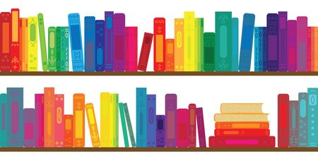 vector illustration of books rows with in rainbow colors for virtual library concepts