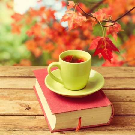 Cup of tea with autumn leaves reflection on book on wooden table