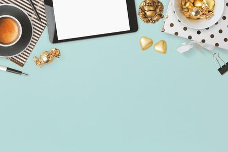 Website header design with feminine glamour objects over blue background