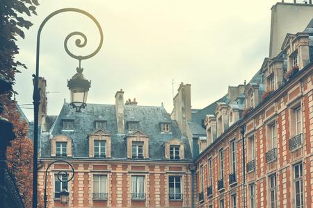 Paris, France. Place des Vosges. Retro filter effect