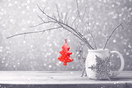 Photo for Christmas tree ornament hanging over bokeh background - Royalty Free Image