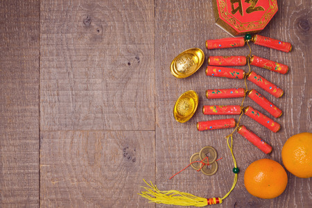 Photo pour Chinese New Year decorations on wooden table  background. View from above with copy space - image libre de droit