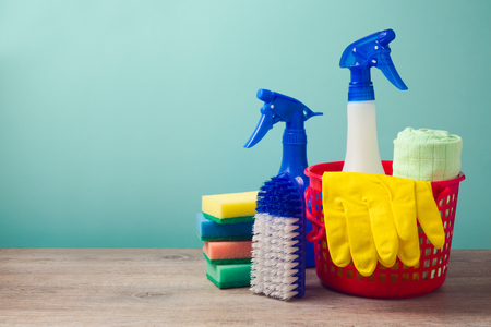 Photo for Cleaning concept with supplies - Royalty Free Image