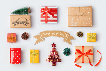 Photo pour Christmas gift boxes collection for mock up template design. View from above. Flat lay - image libre de droit