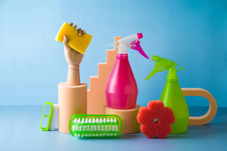 Photo pour Cleaning service concept with supplies. Creative modern still life composition. - image libre de droit