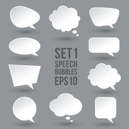 Illustration pour White speech bubbles set - image libre de droit
