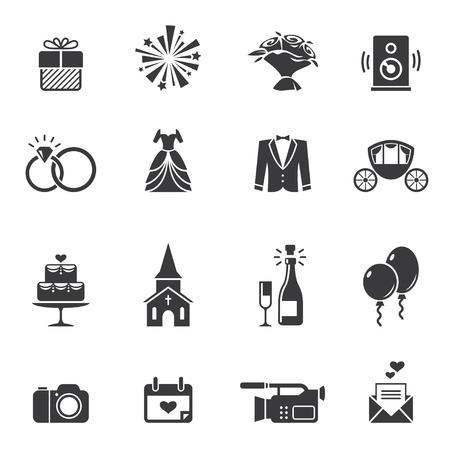 Illustration pour Black wedding icons - image libre de droit