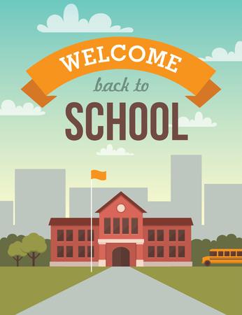 Foto de Bright flat illustration of school building for back to school banner or poster design - Imagen libre de derechos