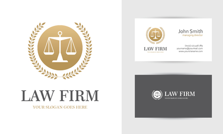 Ilustración de Law with scales and wreath in golden colors. Business card design templates for law firm, company, lawyer or attorney office - Imagen libre de derechos