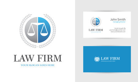Law with scales and wreath in blue and gray colors. Business card design templates for law firm, company, lawyer or attorney office