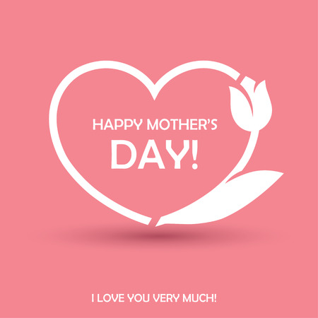 Illustration for Happy Mothers Day design with heart shape and tulip flower. Can be used as greeting card, or poster for birthday or love theme concept - Royalty Free Image