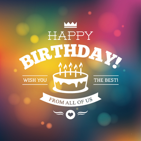Illustration for Bright colorful Birthday card, or poster design on shiny blurred abstract background - Royalty Free Image