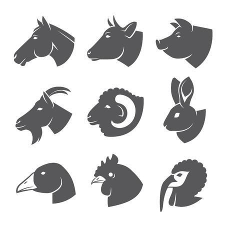 Illustration for Farm animals and birds icon set - Royalty Free Image