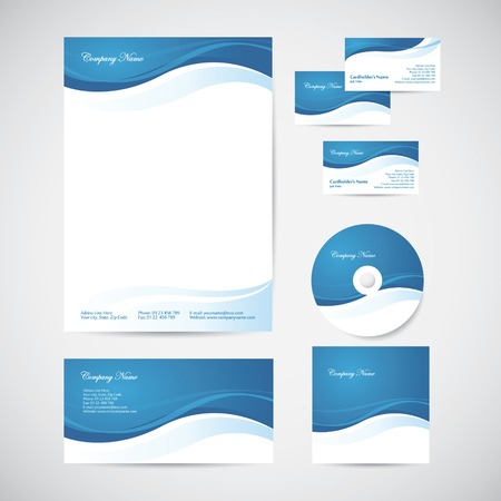 Illustration pour Corporate identity templates with blue design elements: blank, envelope, business card, CD and CD cover - image libre de droit