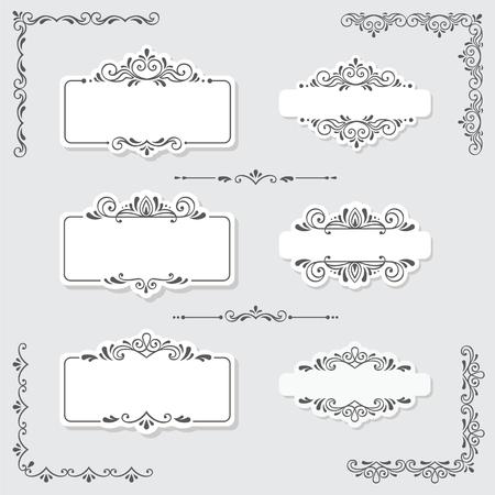 Illustration for Set of vintage frames and design elements in vector - Royalty Free Image