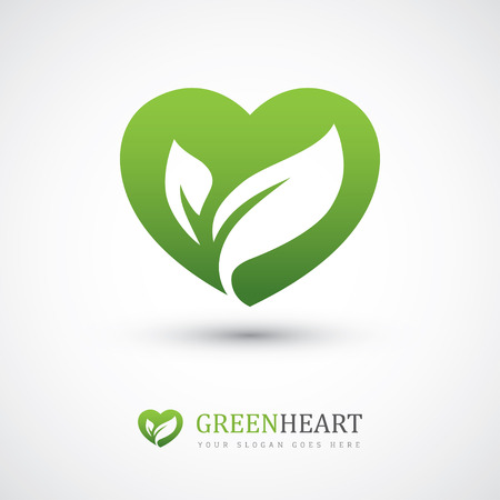 Illustration for Green vector icon with heart shape and two leaves. Can be used for eco, vegan, herbal healthcare or nature care concept logo design - Royalty Free Image