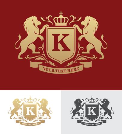 Ilustración de Golden crest design with rampant lions. Heraldic logo template. Luxury design concept. - Imagen libre de derechos