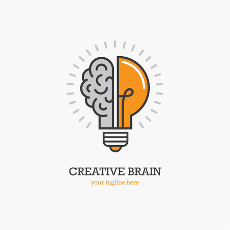 Illustration pour Logo with a half of light bulb and brain isolated on white background. Symbol of creativity, creative idea, mind, thinking. - image libre de droit