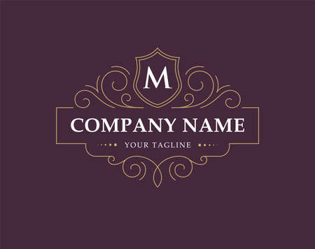 Illustration for Luxury  , monogram in vintage linear style. - Royalty Free Image