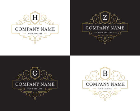 Illustration for Set of four luxury logo in vintage style. - Royalty Free Image