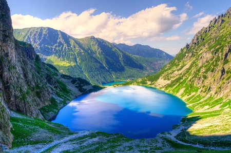 Summer mountain landscape. Beautiful lake in mountains. Black Pond Black Pond under Features, lake is the most popular place in the High Tatra Mountains, Poland.