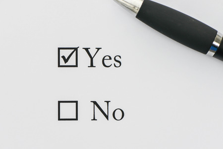 Selection box for Yes or No - Selected to Yes