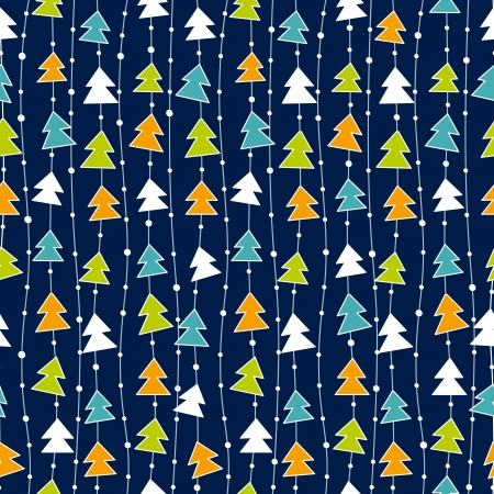 Illustration for Funny Christmas pattern with color christmas trees.  - Royalty Free Image