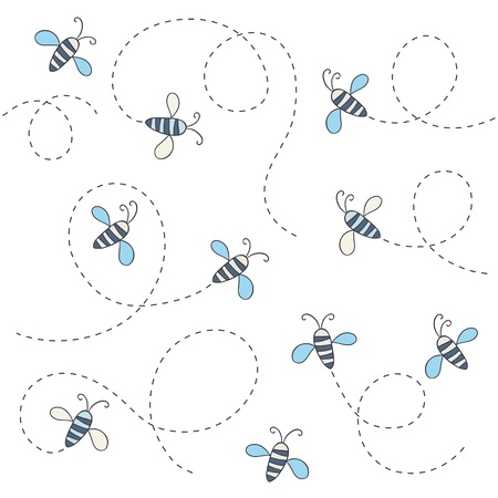 Seamless cute pattern with bees  illustration