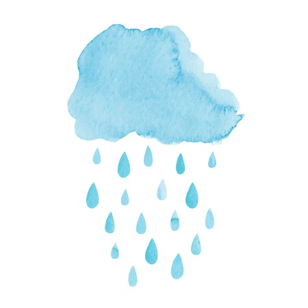 Watercolor hand drawn rainy cloud. Vector illustrationのイラスト素材